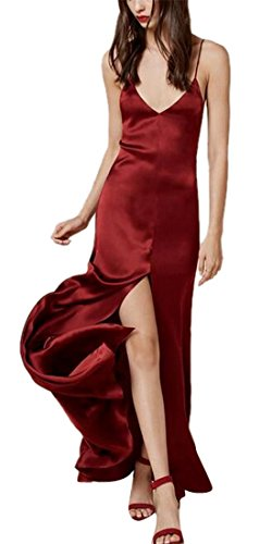 Women's Sexy Deep V Neck Strap Evening Formal Slip Long Dress Gowns Burgundy S