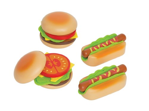 Hape Hamburger and Hot Dogs Wooden Play Kitchen Food Set with Accessories from Hape