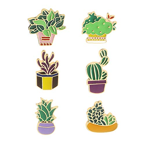 - GYAYU Cute Cartoon Brooch Pins Enamel Brooches Lapel Pins Badge for Women Girls Children for Clothing Bag Decor (Potted Plant)