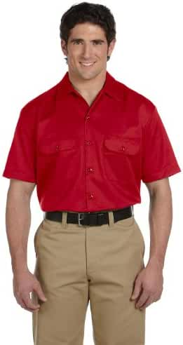 Dickies Men's Short Sleeve Workshirt in Red - XX-Large
