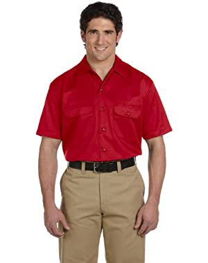 Men's 5.2 oz. Short-Sleeve Work Shirt, Large, Red