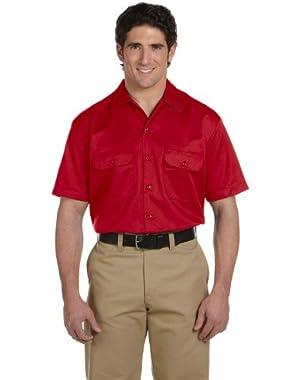 Men's 5.2 oz. Short-Sleeve Work Shirt, Large, Red