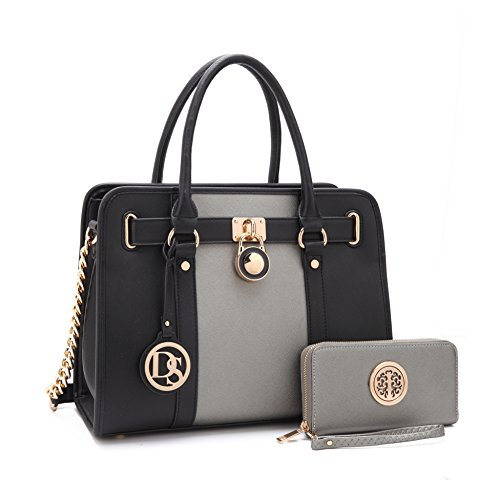 MKP Collection Designer Handbag& Wallet set~Classic Tote~Fashion purse/Satchel for woman (7103W) Silver/Black