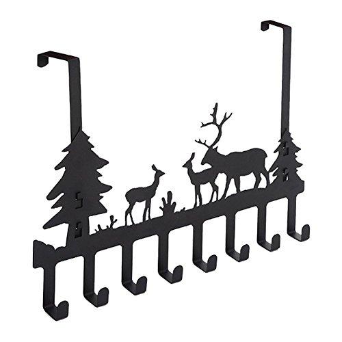 RUIKA Over Door Hook Rack,Vintage Metal Deer Wall Hooks,Decorative Organizer Hooks for Clothes, Coat, Hat, Belt, Towels,Stylish Over Door Hanger for Home or Office Use (8 Hook,Black) -