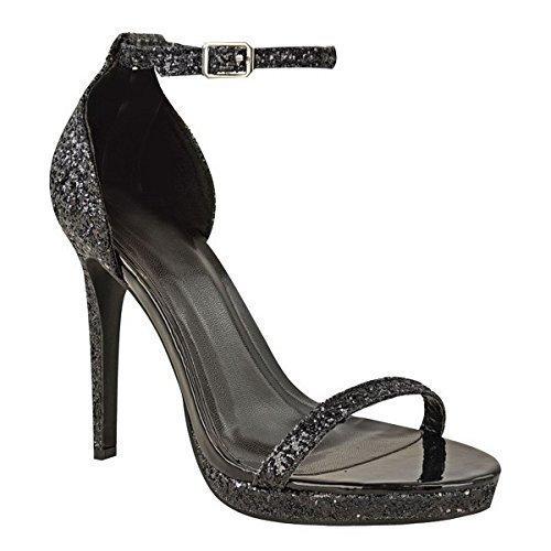 Boucle Noir Pointure Haut Femmes Soirée Chaussures pour Cheville Aiguille Neuves Bride Plateforme Talon Sandales Paillettes AHRw6Pq