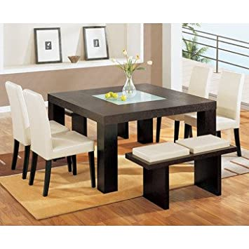 Global Furniture USA G020DT 7 Piece Square Dining Room Set W/ Beige Chairs