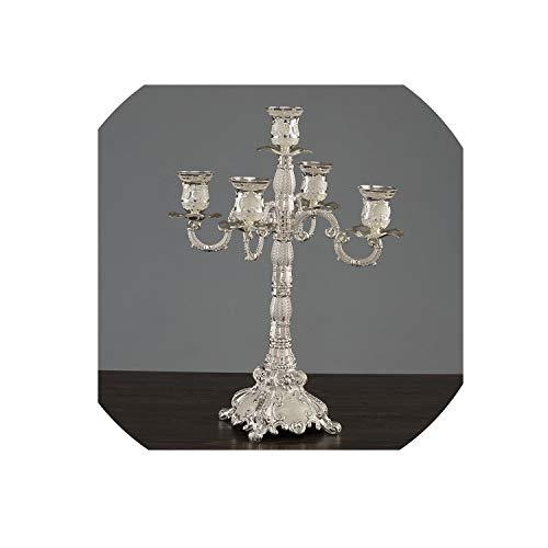 Romantic Luxury Style Metal Candle Holders Wedding Decoration Bar Party Home Decor Candlesticks Candelabra Candle Holders,5-arm Silver White