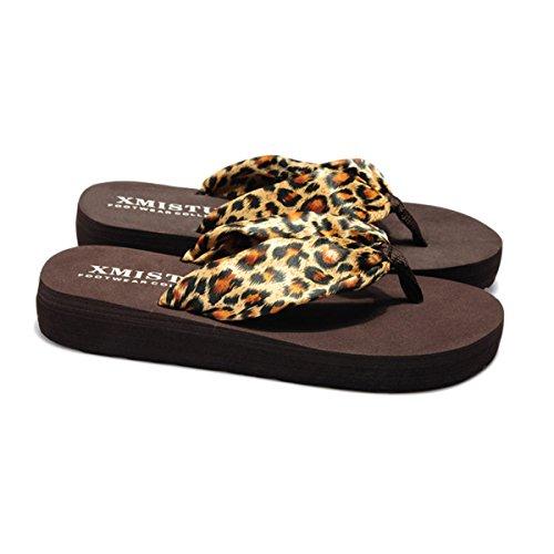 Butterme Frauen Bohemian Floral Sandalen Sommer Strand Schuhe Sandale Keil Plattform Startseite Flip Flops Hausschuhe Brauner Leopard