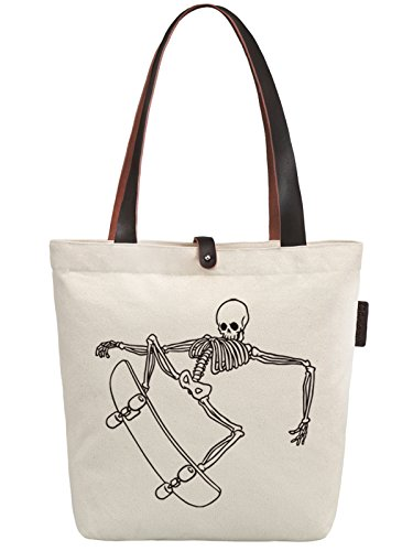 So'each Women's Skate Skull Graphic Canvas Handbag Tote Shoulder Bag