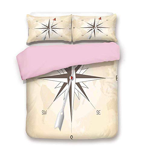 (Pink Duvet Cover Set,Twin Size,Compass Rose with Metal Arrow on Vintage Grungy Background Travel Navigation Art,Decorative 3 Piece Bedding Set with 2 Pillow Sham,Best Gift For Girls Women,Beige)
