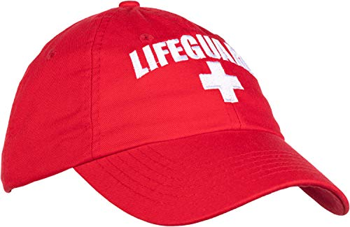 - Lifeguard Hat | Professional Guard Red Baseball Cap Men Women Costume Uniform - Red