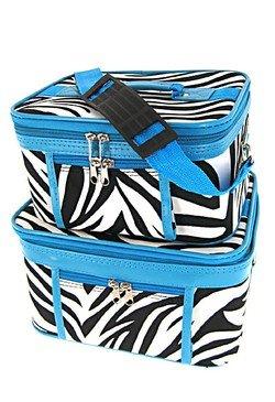 2-Piece Set Zebra Print w/ Blue Trim Cosmetic Cases