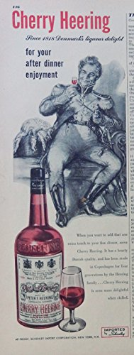 Cherry Heering Liqueur 40's print ad. Color Illustration (since 1818 Denmark) original 1948 Esquire Magazine (Heering Cherry Liqueur)
