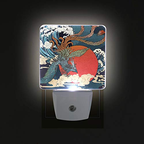 (Mr.XZY Traditional Painting Gorgeous Phoenix Sun Cloud LED Night Light Folk-Custom Chinese Style 2 Pack 0.5W Plug in Lamp with Dusk to Dawn Sensor, for Kids Girls Boys Adults Room 2011358)