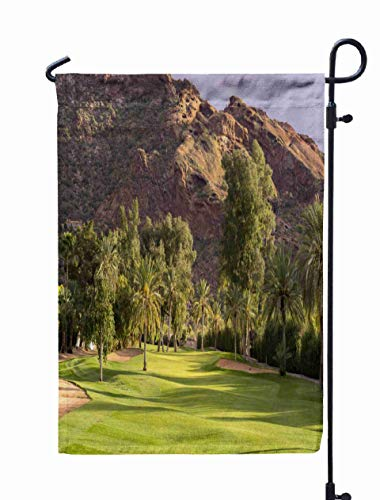 HerysTa Spring Garden Flag, Decorative Yard Farmhouse Holiday Banner 12 x 18 inches Golf Course Fairway in Beautiful Golden Hour Light Mountain Background Camelback Double-Sided Seasonal Garden Flags -