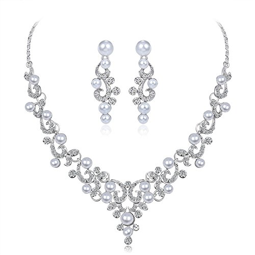 Clearance Deal! Hot Sale! Necklace, Fitfulvan Alloy Rhinestone Necklace Earrings pendants Set Wedding Bride Jewelry Gift (C) ()