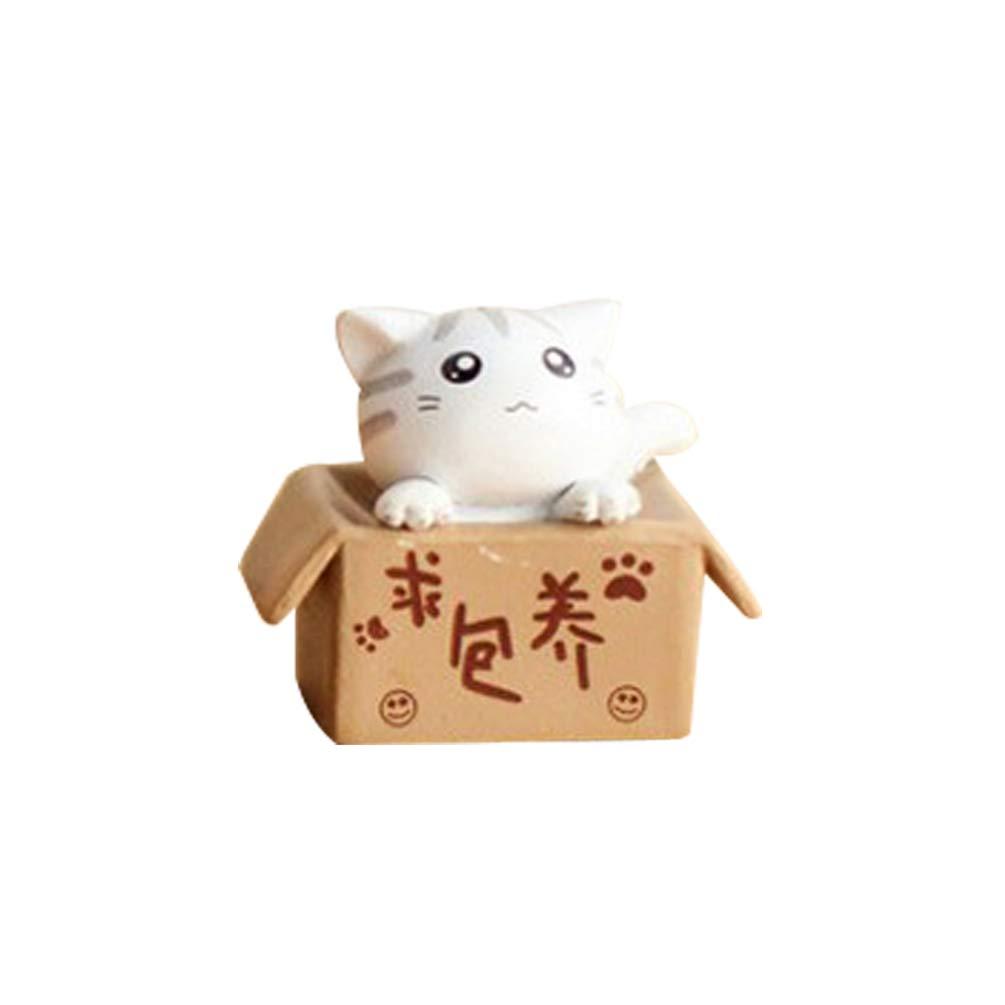 bismarckbeer Fairy Garden Kit, Miniature Lovely Box Cartoon Cat DIY Dollhouse Fairy Garden Ornament