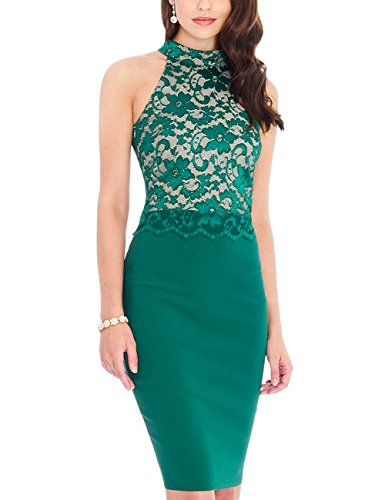 GlorySunshine Halterneck Sleeveless Floral Lace Stiching Dress Green S