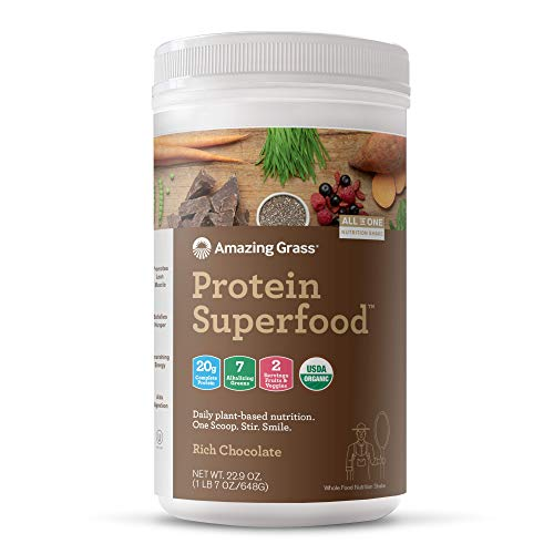 Amazing Grass Protein Superfood: Organic Vegan Protein Powder, Plant Based Meal Replacement Shake with 2 servings of Fruits and Veggies, Rich Chocolate Flavor, 18 Servings (Amazing Grass Energy Lemon Lime)