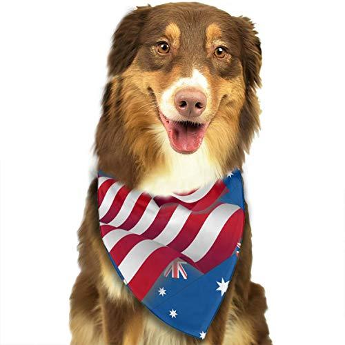 ZZJIAK Dog Bandana Scarf Australia Flag with America Flag Triangle Bibs Printing Kerchief Set Accessories Dogs Cats Pets -
