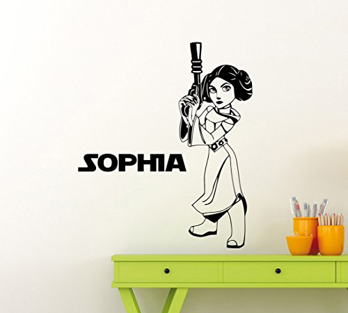 (Star Wars Leia Custom Name Wall Decal Personalized Princess Leia Customized Poster Stencil Ink Quote Vinyl Sticker Home Teen Kids Girl Room Nursery Art Decor Mural)