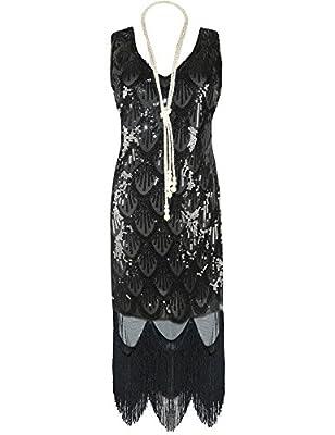 PrettyGuide Women 20s Great Gatsby Sequin Fishscale Embellished Fringe Flapper Dress