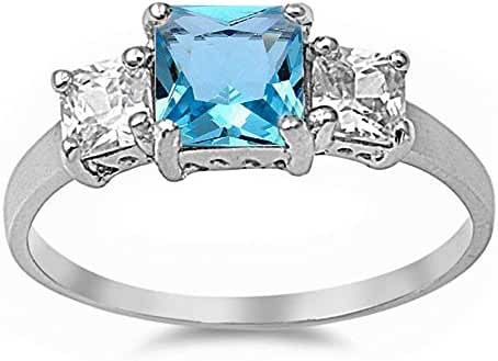 Princess Cut Simulated Aquamarine & Cubic Zirconia .925 Sterling Silver Ring Sizes 4-10