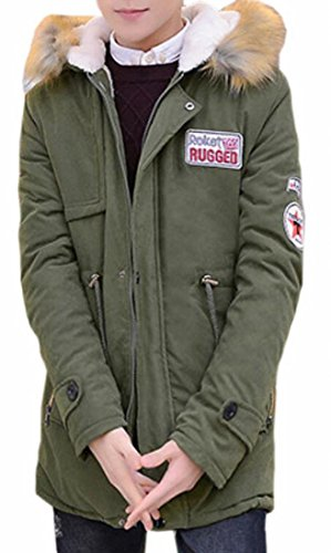 today-UK Mens Outdoor Hooded Quilted Fleece-Lined Thicken Long Jacket Coat Green