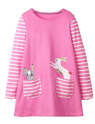 (VIKITA 2018 Toddler Girls Dresses Pink Bunny Long Sleeve Girl Dress for Kids 3-8 Years JM7740,)