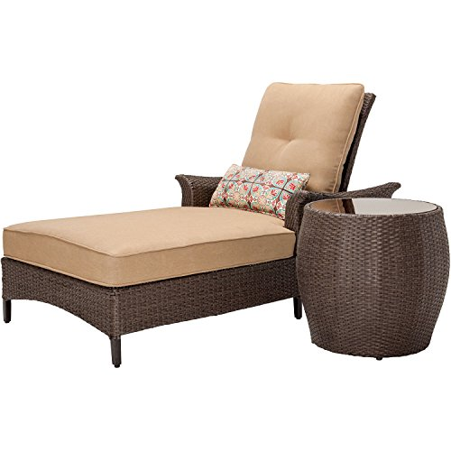 Hanover Gramercy 2-Piece Outdoor Wicker Chaise Lounge Set, Brown/Tan
