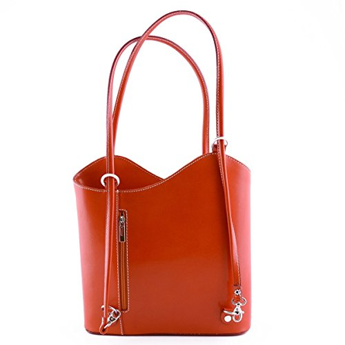 Borsa A Tracolla In Pelle Colore Arancione - Pelletteria Toscana Made In Italy - Borsa Donna