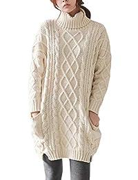 LONGMING Women's Winter Wool Cashmere Turtleneck Long Sleeve Long Sweater Dress