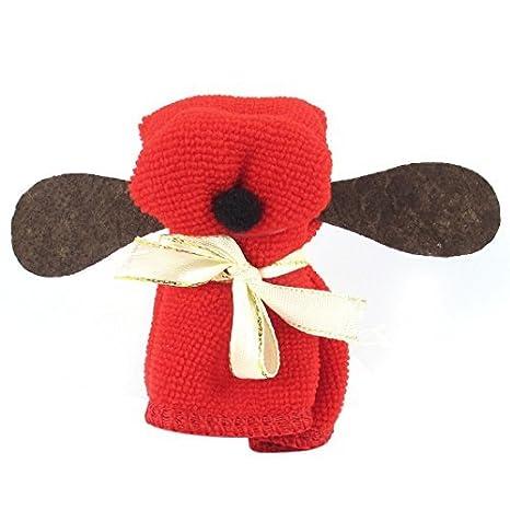 Terry perro de perrito del cumpleaños ornamento partido en forma de toalla Rojo Amarillo: Amazon.es: Hogar