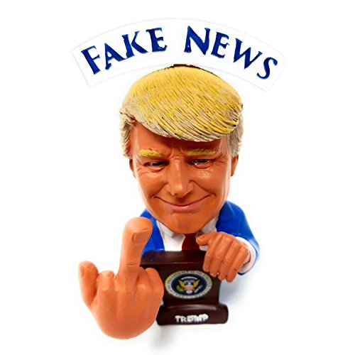 """BobbleFingers Donald Trump """"Bobblehead Middle Finger"""" Doll President Trump Car & Office Decorative Doll with """"Hey Democrats"""" & """"Hey Fake News"""" Banner -Funny Gifts Idea for Republicans & Liberals"""