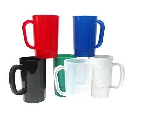 Large Plastic Mug - Talisman, Plastic Beer Mugs, Large 32 Ounce, Pack 6, Color Multi