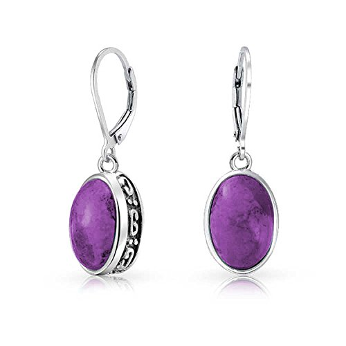 (Bali Style 3CT Oval Stabilized Purple Turquoise Gemstone Bezel Dangle Leverback Earrings For Women 925 Sterling Silver)