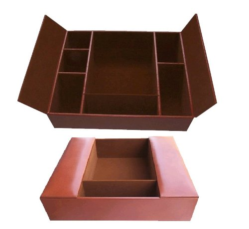 Rustic Brown Leather Conference Room Organizer (Leather Conference Room Organizer)