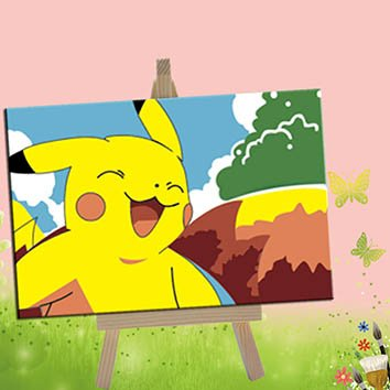 DoMyArt Paint By Number Kit For Children 4X6 Inch (Pikachu)