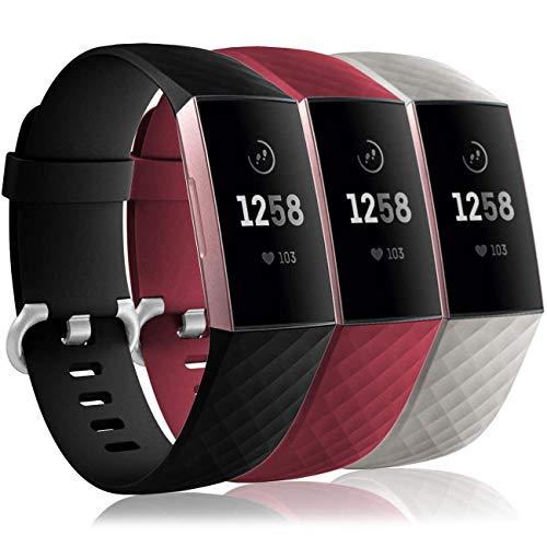 3 Mallas para Reloj Fitbit Charge 3/4 Small SG - B - WR
