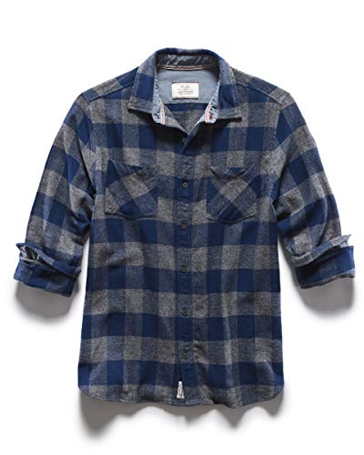 Flag & Anthem Harrells Flannel Shirt - Men's Buffalo Plaid– Long Sleeve Buttoned Shirt – Tailored Athletic Fit, Charcoal and Blue - Medium