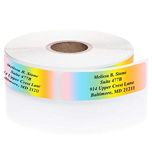 Cascading Rainbow Rolled Address Labels Without Elegant Dispenser - Roll of 500