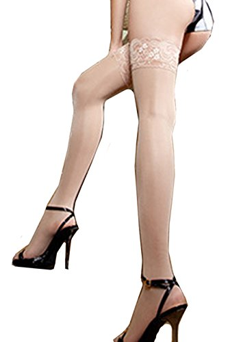 Hii-Yo Womens Fashion Sexy Cute Seductive Lace Edge Enchanting Silk Stocking - Gallery Guys Nude