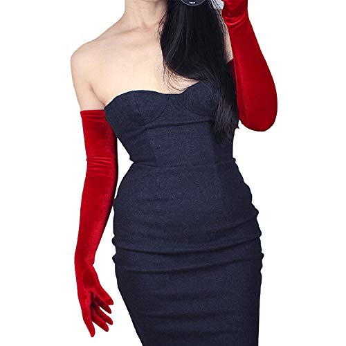 (DooWay 23-inch Red Velvet Opera Long Gloves Evening Elastic Stretchy Women Finger Gloves One Size)