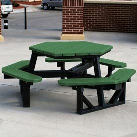 (Frog Furnishings Hex Picnic Table, Recycled Plastic, 6 ft, Black & Green)