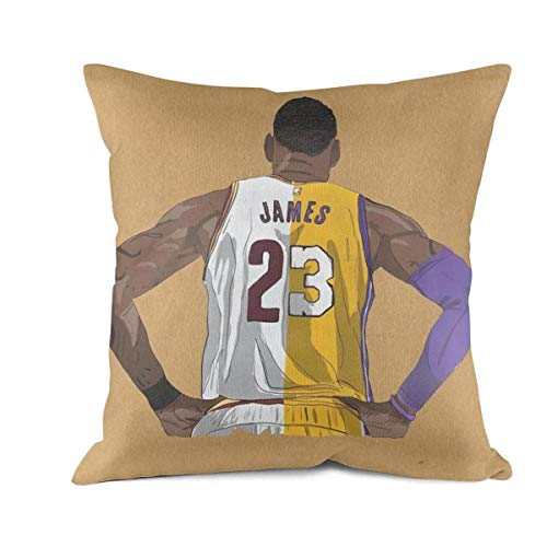 Lebron James Fabric (FPFLY 18x18 Inch Square Throw Pillow Cushion Covers Cotton Home Decor Design Goat-James-23- Cushion Case)
