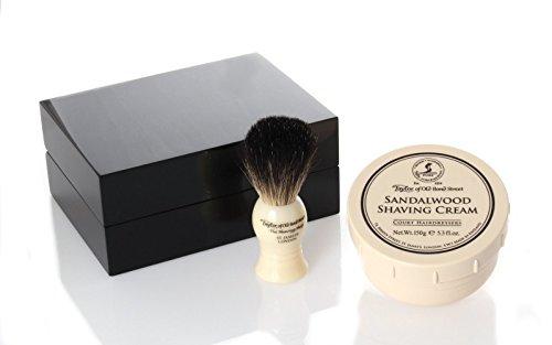 Taylor Wooden Box, Shaving Cream Sandalwood 150g, shaving brush badger hair by Taylor of Old Bond Street