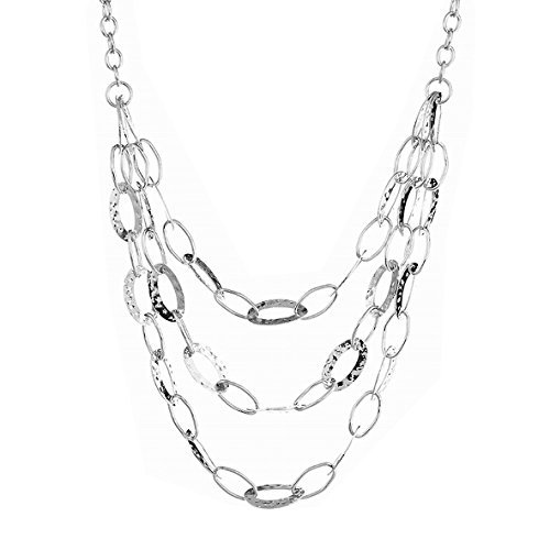 (Paialco Jewelry Handmade Style Multilayer Oval Link Chains Statement Necklace for Women 20~22 Inches)