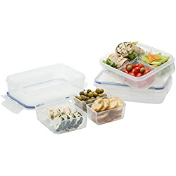Komax Biokips Food Storage Lunch Boxes Set of 3, Divided Plastic Container with 3 Removable Compartments, Leak Proof, - Airtight Locking Lids - Great for School Kids Bento Box (37 oz)