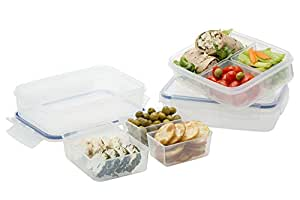 Komax Lunch Boxes Set of 3, with 3 Removable Compartments, Leak Proof, Microwave Freezer and Dishwasher Safe