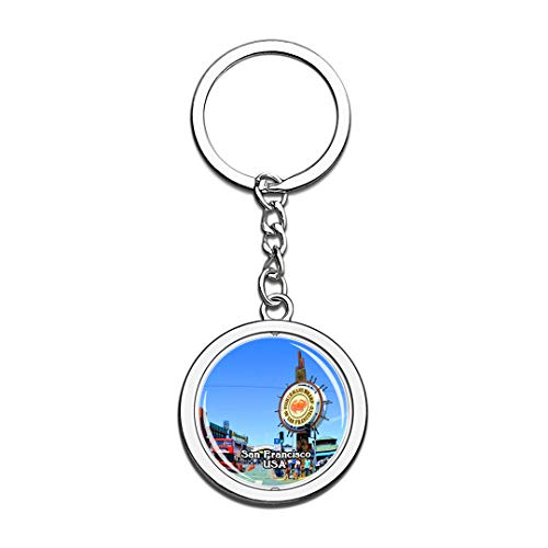USA United States Keychain Fisherman's Wharf San Francisco Key Chain 3D Crystal Spinning Round Stainless Steel Keychains Travel City Souvenirs Key Chain Ring